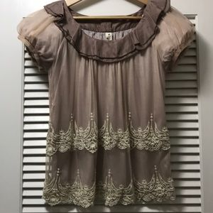 Anthropology | Floreat Baby Doll Silk Top